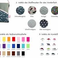 Mini Umhängetasche Handytasche grau handmade aus Baumwollstoff 2 Fächer Farb- und Musterauswahl Bild 3