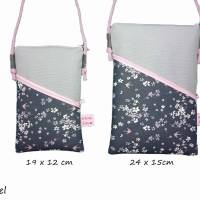 Mini Umhängetasche Handytasche grau handmade aus Baumwollstoff 2 Fächer Farb- und Musterauswahl Bild 4