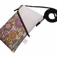 Mini Umhängetasche Handytasche grau handmade aus Baumwollstoff 2 Fächer Farb- und Musterauswahl Bild 6