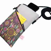 Mini Umhängetasche Handytasche grau handmade aus Baumwollstoff 2 Fächer Farb- und Musterauswahl Bild 8