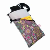 Mini Umhängetasche Handytasche grau handmade aus Baumwollstoff 2 Fächer Farb- und Musterauswahl Bild 9
