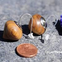 Holzohrringe – Tropfen Holz Essigbaum gedrechselt Silberhaken 925 Bild 4