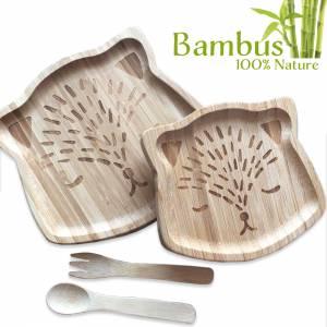 Bambus Essgeschirr für Babys mit Gravur – natürlich ökologisch reines Naturprodukt Geschenk Taufe Geburt Bild 1