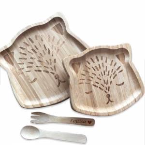 Bambus Essgeschirr für Babys mit Gravur – natürlich ökologisch reines Naturprodukt Geschenk Taufe Geburt Bild 2