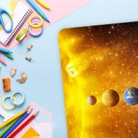 stabile XXL Vinyl Schreibtischunterlage Sonnensystem Bastelmatte Kinder Platzset - BPA frei - abwaschbar Bild 3