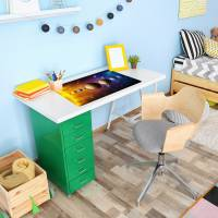 stabile XXL Vinyl Schreibtischunterlage Sonnensystem Bastelmatte Kinder Platzset - BPA frei - abwaschbar Bild 4