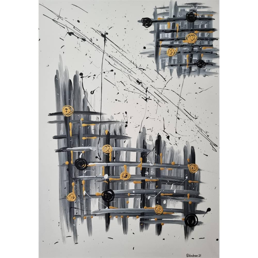 Abstrakte Kunst in Acryl Handgemalt auf Leinwand Unikat Acrylmalerei Abstraktmalerei Bild 1