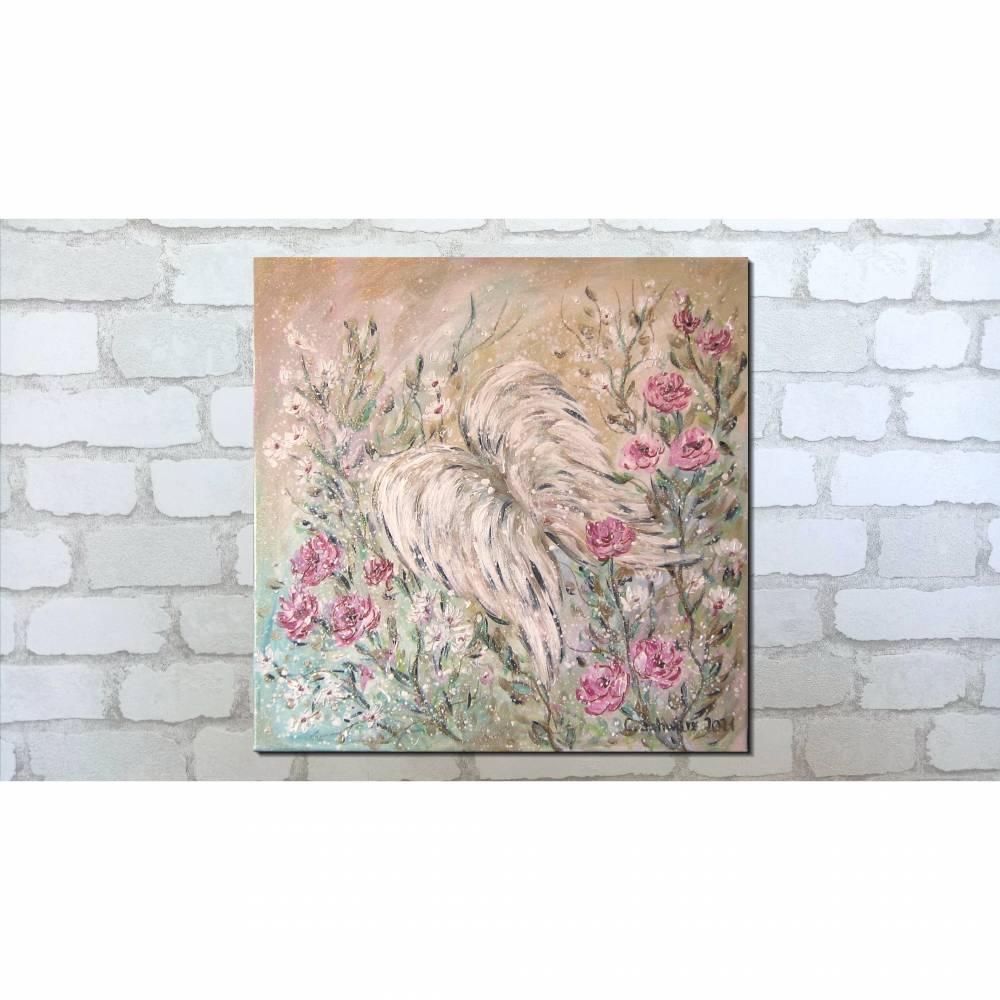 ANGEL WINGS - wunderschönes Acrylbild 50cm x 50cm, mit Metallikeffekten und Glitter Bild 1