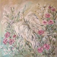 ANGEL WINGS - wunderschönes Acrylbild 50cm x 50cm, mit Metallikeffekten und Glitter Bild 3