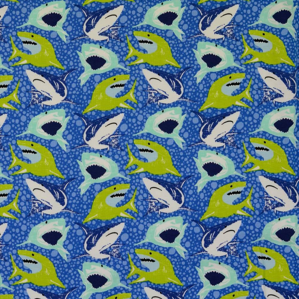 Jersey Baumwolljersey Haie Blau Oeko-Tex Standard 100(1m/13,-€)  Bild 1
