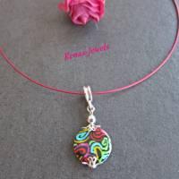 Halsreif mit Perlmutt Anhänger bunt  pink Hippie Kette kurz Perlmuttkette Bild 3