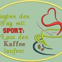Stickdatei Set 7 Kaffee Sprüche Mug Rug Bild 2