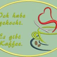 Stickdatei Set 7 Kaffee Sprüche Mug Rug Bild 3