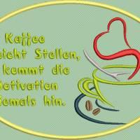 Stickdatei Set 7 Kaffee Sprüche Mug Rug Bild 5