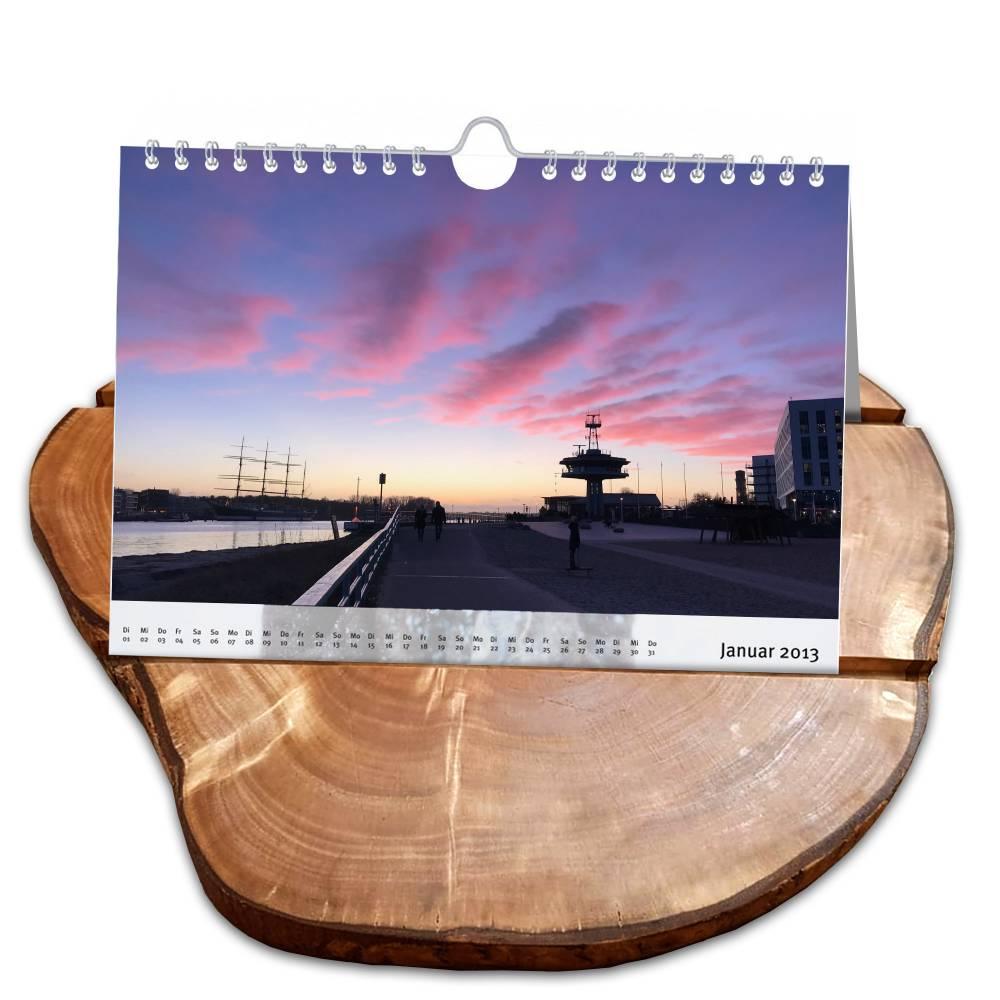 Kalenderhalter aus Olivenholz rustikal mit 2 Rillen – Ständer für Kalender Fotos Bilder Bild 1
