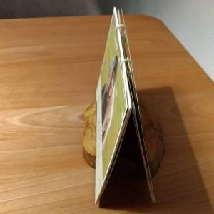 Kalenderhalter aus Olivenholz rustikal mit 2 Rillen – Ständer für Kalender Fotos Bilder Bild 4