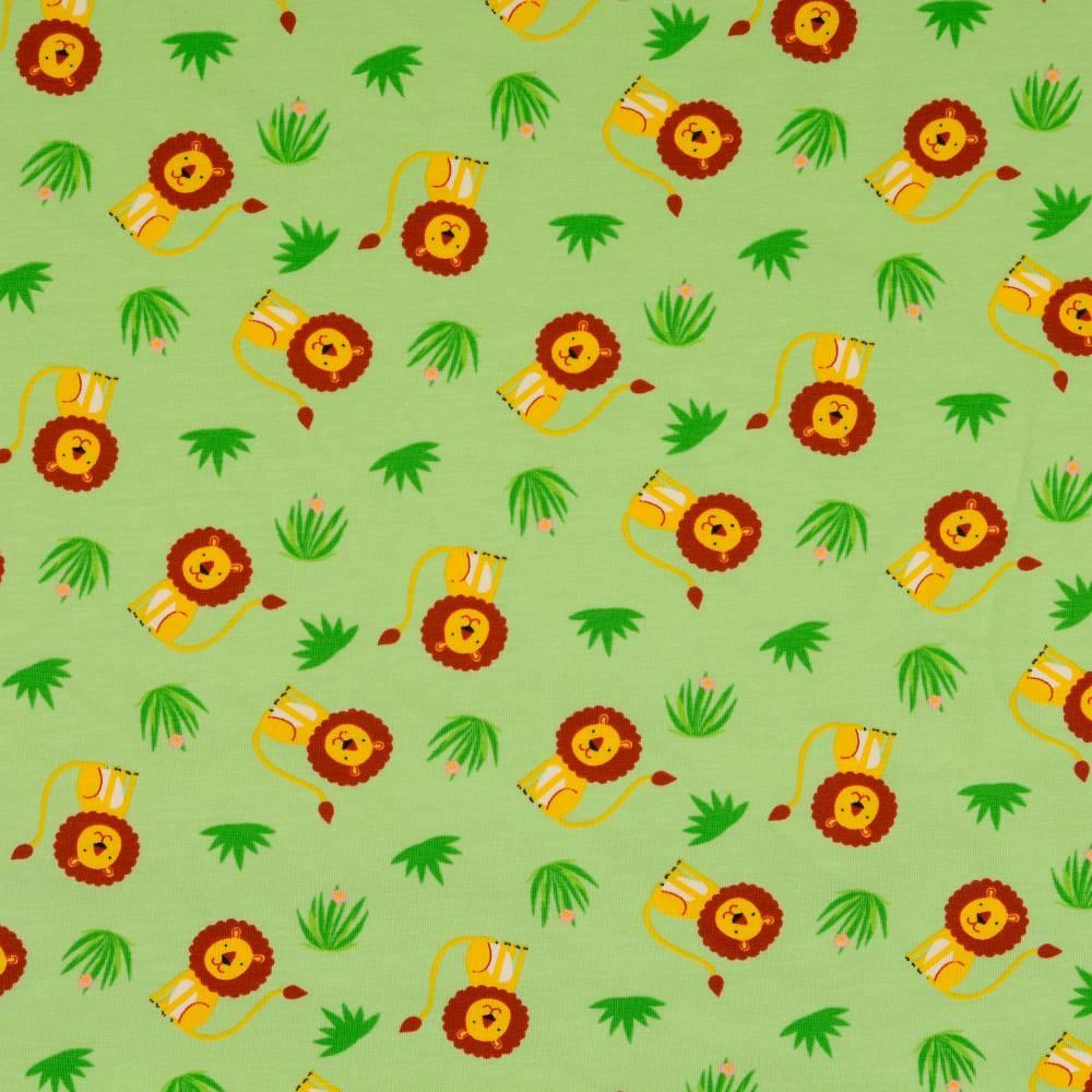 Jersey Baumwolljersey kleiner Löwe hellgrün Oeko-Tex Standard 100(1m/13,-€) Bild 1