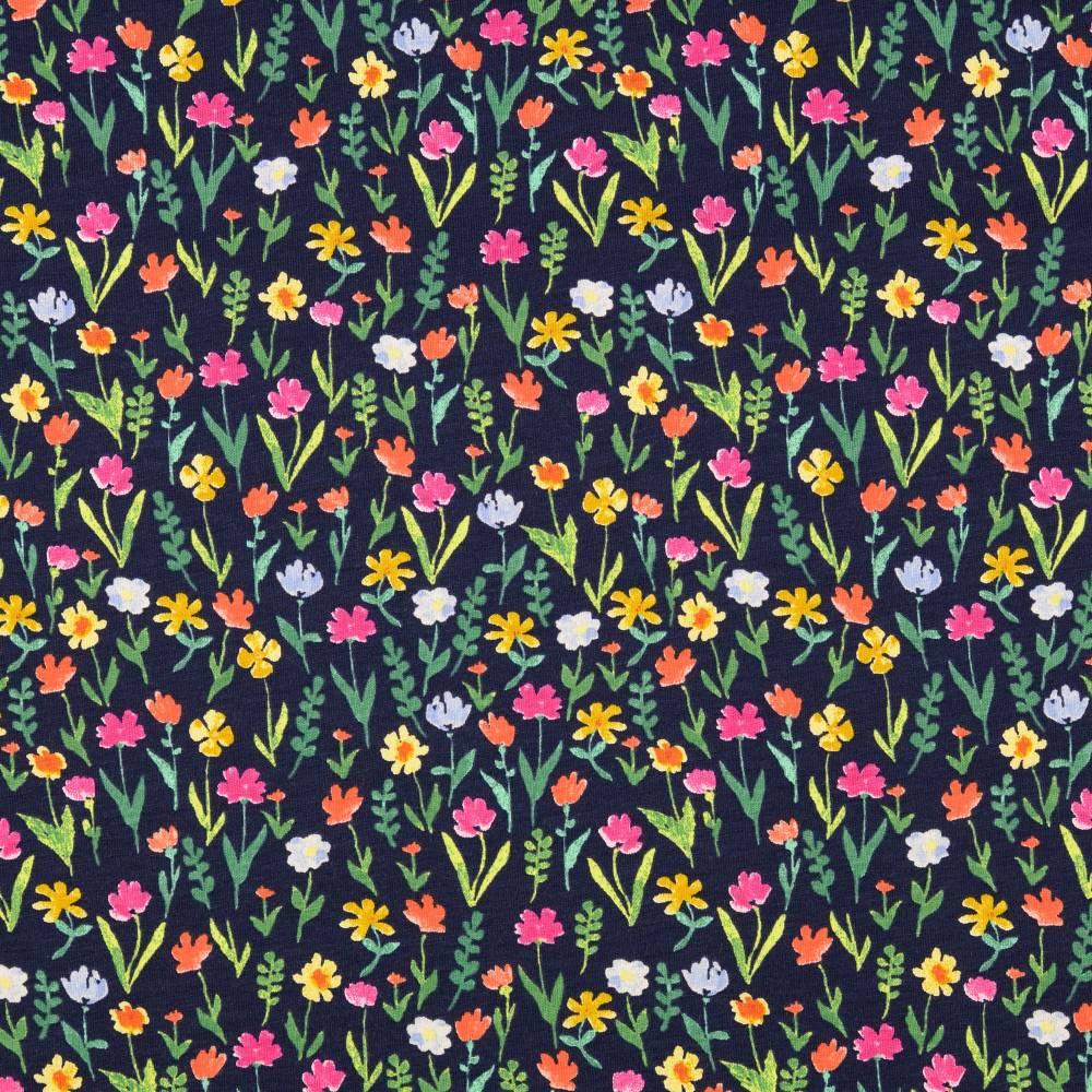 Jersey Baumwolljersey  Blumen dunkelblau Oeko-Tex Standard 100(1m/13,-€) Bild 1