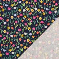 Jersey Baumwolljersey  Blumen dunkelblau Oeko-Tex Standard 100(1m/13,-€) Bild 2