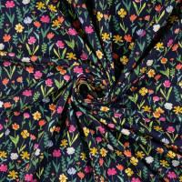 Jersey Baumwolljersey  Blumen dunkelblau Oeko-Tex Standard 100(1m/13,-€) Bild 3