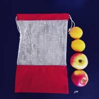 Allzweckbeutel, Mehrweg-Stoffbeutel, roter Obstbeutel, nachhaltiger Stoffbeutel für Gemüse und Obst Bild 2