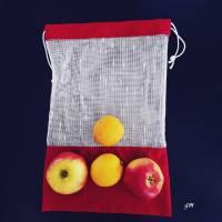 Allzweckbeutel, Mehrweg-Stoffbeutel, roter Obstbeutel, nachhaltiger Stoffbeutel für Gemüse und Obst Bild 3