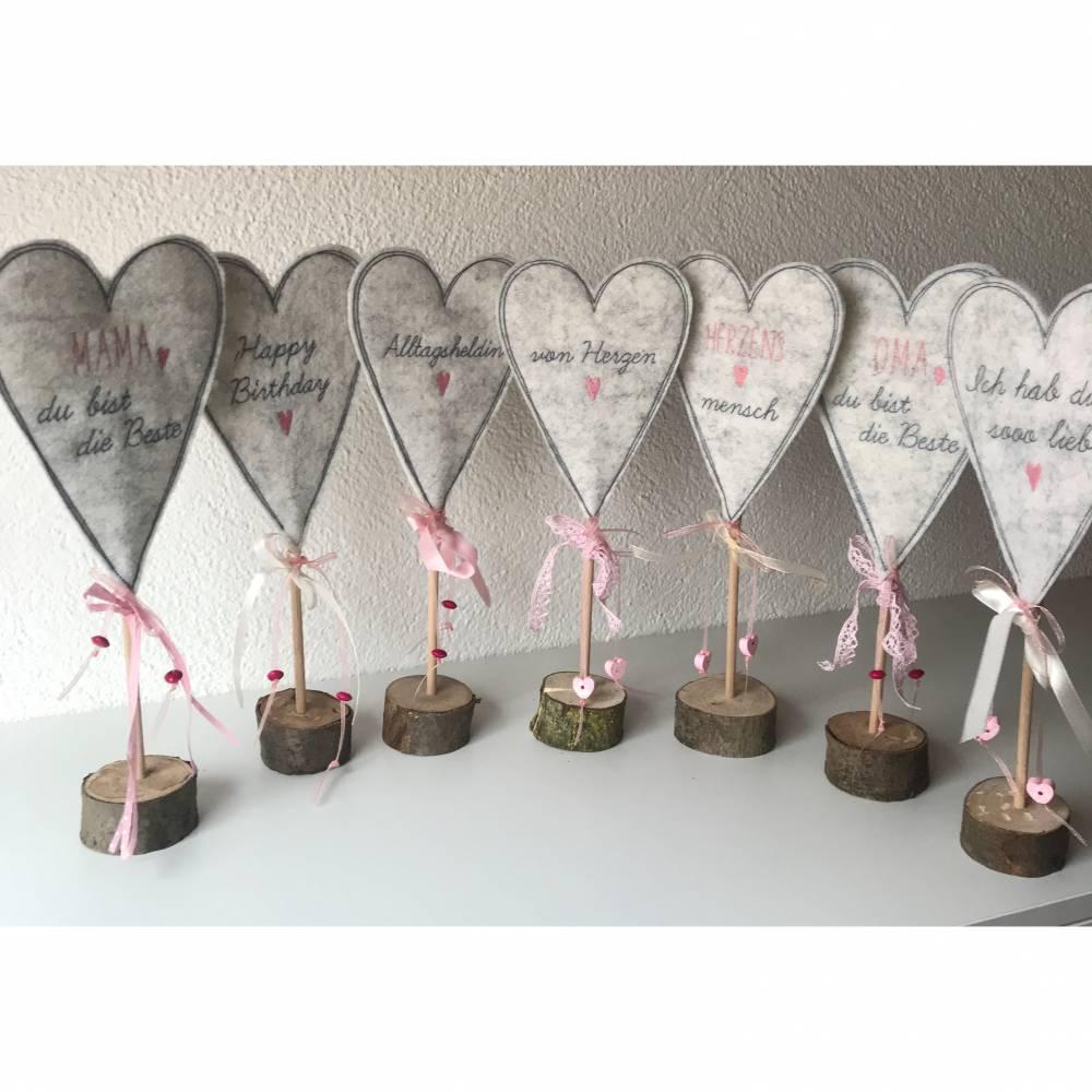 2 er Set Herzen auf Standfuß  in der Farbe ROSA - Tisch/Fenster Dekoration aus 100 % Wollfilz - für liebe Menschen Bild 1