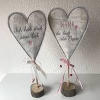 2 er Set Herzen auf Standfuß  in der Farbe ROSA - Tisch/Fenster Dekoration aus 100 % Wollfilz - für liebe Menschen Bild 2