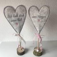 2 er Set Herzen auf Standfuß  in der Farbe ROSA - Tisch/Fenster Dekoration aus 100 % Wollfilz - für liebe Menschen Bild 4