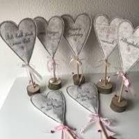 2 er Set Herzen auf Standfuß  in der Farbe ROSA - Tisch/Fenster Dekoration aus 100 % Wollfilz - für liebe Menschen Bild 8