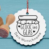 """Personalisierter Stempel """"Glück im Glas"""" DIY Stempel """"Glück im Glas"""" Ø 30/40mm Bild 1"""