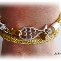 Wickelarmband aus Segelseil/Segeltau mit Kleeblatt und Fisch - Geschenk,Glücksbringer,Herz,bicolor,maritim,modern Bild 5