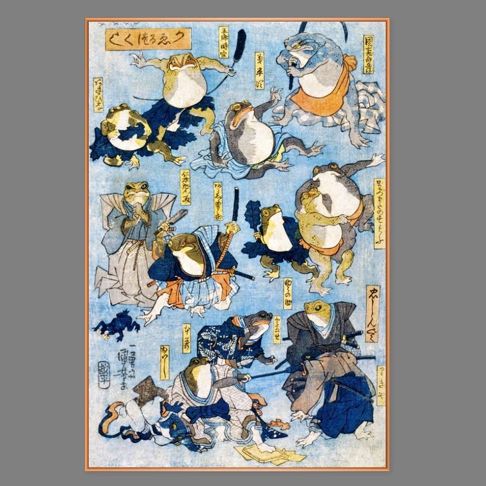 Japanische Kunst - Holzschnitt ca. 1875 - Samurai Frösche - Kunstdruck - Vintage Art  Humor Bild 1