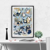 Japanische Kunst - Holzschnitt ca. 1875 - Samurai Frösche - Kunstdruck - Vintage Art  Humor Bild 3