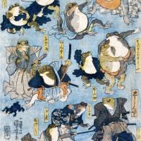Japanische Kunst - Holzschnitt ca. 1875 - Samurai Frösche - Kunstdruck - Vintage Art  Humor Bild 4