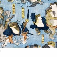 Japanische Kunst - Holzschnitt ca. 1875 - Samurai Frösche - Kunstdruck - Vintage Art  Humor Bild 6