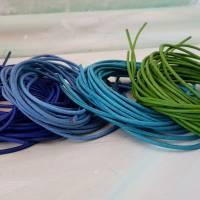4x Lederband deutsche Produktion 2mm Lederschnur Echtleder Kordel Rindsleder Farbmix marine blau türkis grün Lederkordel Bild 1
