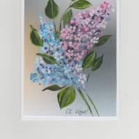 Grußkarte, Glückwunschkarte-   Flieder-   handgemalt Bild 1