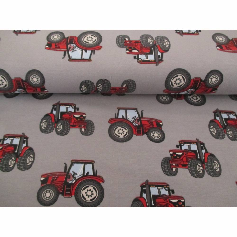 Jersey Baumwolljersey Traktor Trecker grau/rot (1m/15,-€) Bild 1