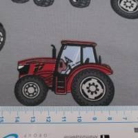 Jersey Baumwolljersey Traktor Trecker grau/rot (1m/15,-€) Bild 2