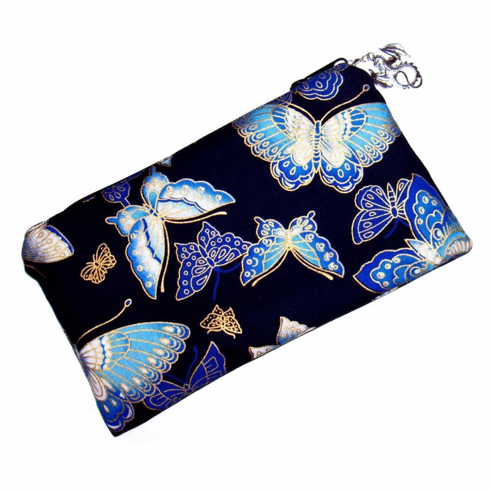 """Täschchen """"Blaue Schmetterlinge"""" aus Baumwolle mit Reißverschluss - Maskentasche Etui Kosmetiktasche Kulturtasch Bild 1"""
