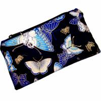 """Täschchen """"Blaue Schmetterlinge"""" aus Baumwolle mit Reißverschluss - Maskentasche Etui Kosmetiktasche Kulturtasch Bild 2"""