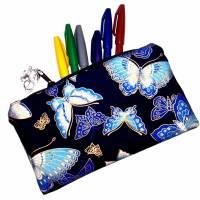 """Täschchen """"Blaue Schmetterlinge"""" aus Baumwolle mit Reißverschluss - Maskentasche Etui Kosmetiktasche Kulturtasch Bild 3"""