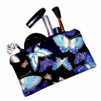 """Täschchen """"Blaue Schmetterlinge"""" aus Baumwolle mit Reißverschluss - Maskentasche Etui Kosmetiktasche Kulturtasch Bild 4"""