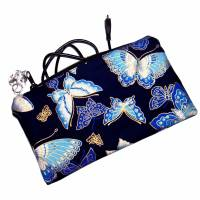 """Täschchen """"Blaue Schmetterlinge"""" aus Baumwolle mit Reißverschluss - Maskentasche Etui Kosmetiktasche Kulturtasch Bild 5"""