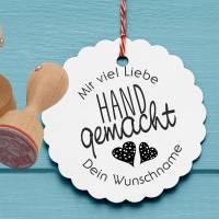 """Personalisierter Stempel """"Mit viel Liebe handgemacht"""" DIY Stempel """"Mit viel Liebe handgemacht"""" Ø 30/40mm Bild 1"""