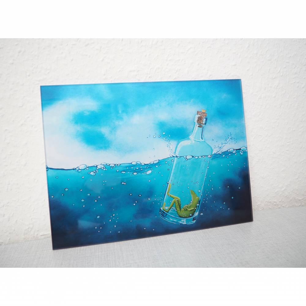 Froschenpost, Druck hinter Acrylglas, Froschbild message in a bottle, witziges Bild, Flaschenpost, Frosch in der Flasche Bild 1