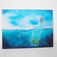 Froschenpost, Druck hinter Acrylglas, Froschbild message in a bottle, witziges Bild, Flaschenpost, Frosch in der Flasche Bild 2