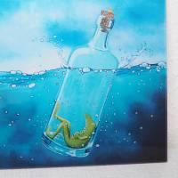 Froschenpost, Druck hinter Acrylglas, Froschbild message in a bottle, witziges Bild, Flaschenpost, Frosch in der Flasche Bild 4