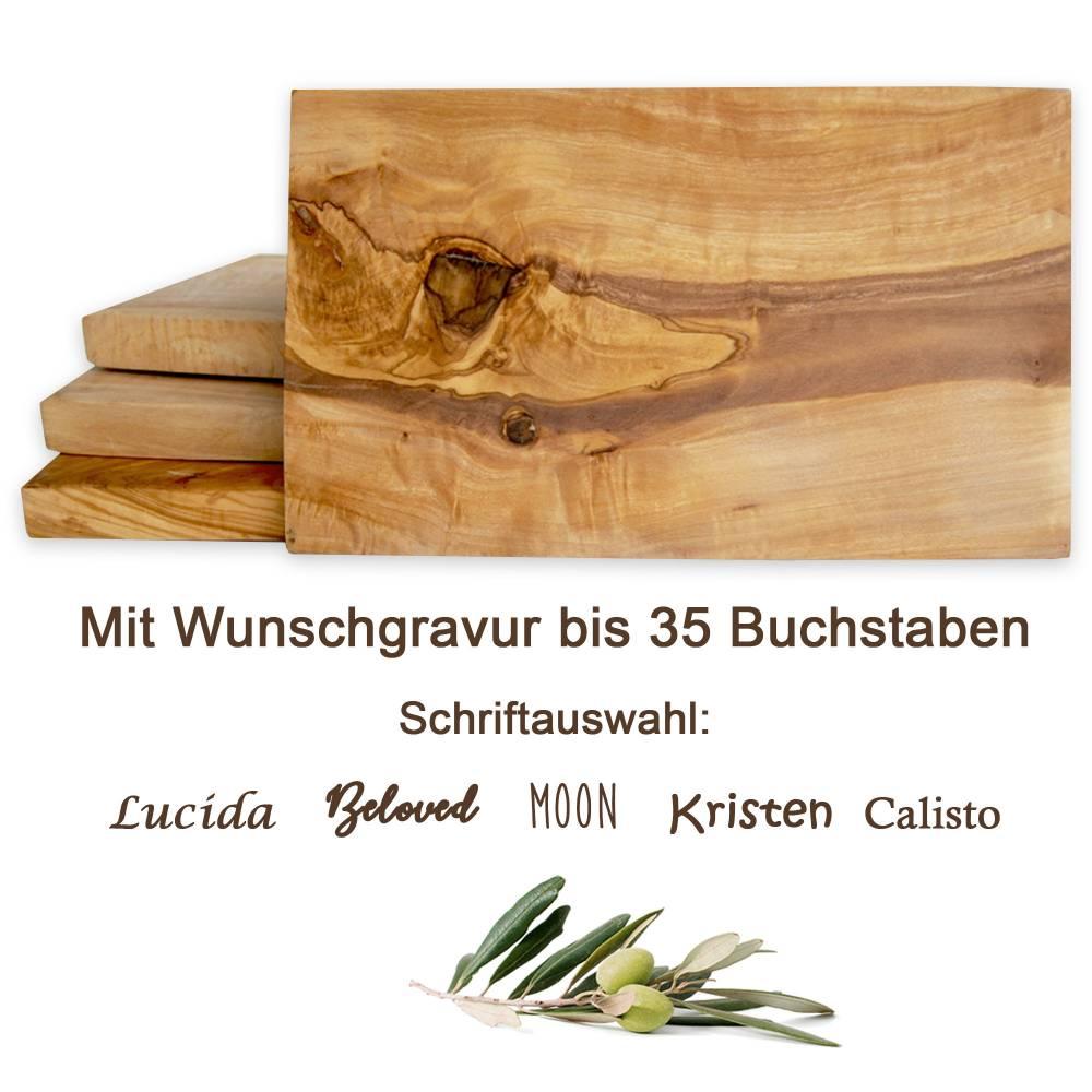 Frühstückbrett aus Olivenholz mit Gravur bis 35 Zeichen – Schneidebrett Servierbrett 25 x 15 cm mit geraden eckigen Kant Bild 1